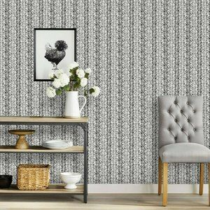 Vine Stripe Peel & Stick Wallpaper Black